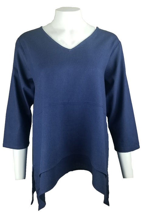 Double Hem Linen Blend Top