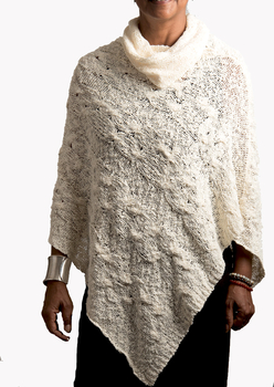 Image Cowl Neck Cable Knit Pointed Poncho