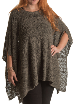 Image Crew Neck Cable Knit Square Poncho