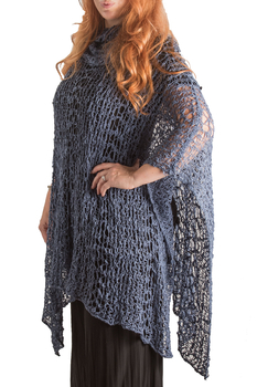 Image Cowl Neck Fishnet Long Poncho