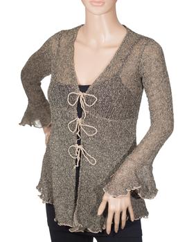 Image Tissue Knit Babydoll Tie Cardigan - RUM