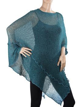 Image Tissue Knit Long Poncho