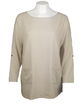 Image Button Back Linen Blend Top - V01