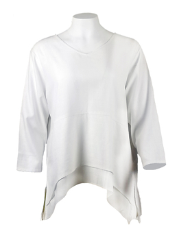 Image Double Hem Linen Blend Top - VB01