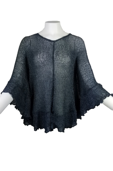 Image Tissue Knit Ruffle Poncho - RUZ