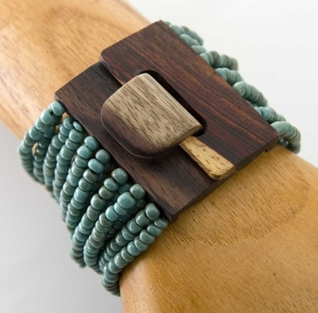 Image Wooden Buckle Beaded Bracelet - PZ41
