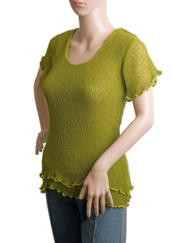 Image Tissue Knit Short Sleeve Knit Top - QC