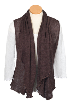 Image Tissue Knit Vest with Draped Lapel - RUAN