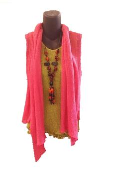 Image Tissue Knit Vest with Draped Lapel - RUAN