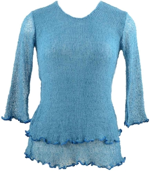 Image Tissue Knit 3/4 Sleeve Top - QT