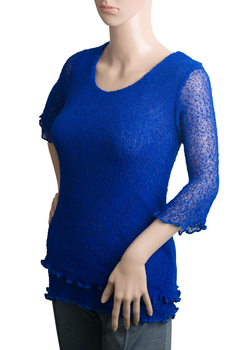 Image Tissue Knit 3/4 Sleeve Knit Top - QT