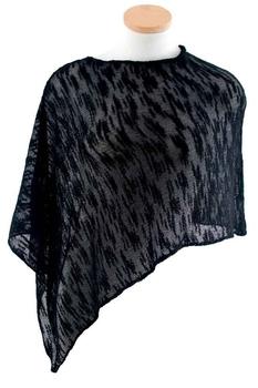 Image Tissue Knit Slub Knit Poncho - RUDUJ