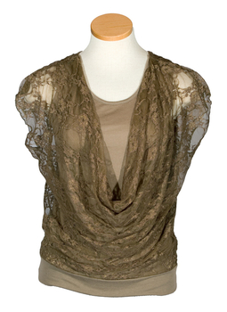 Image Lace Draped Front Top - VFJ