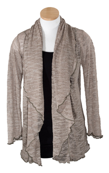 Image Tissue Knit Slub Long Sleeve Cardigan - RUAUJ