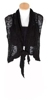 Image Tissue Knit Slub Vest with Tie Front -  RUTUJ