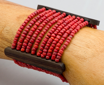 Image Beads and Wood Bracelet - PZ40