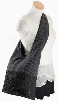 Image Purse Cotton Stripes and Beads - QZ03